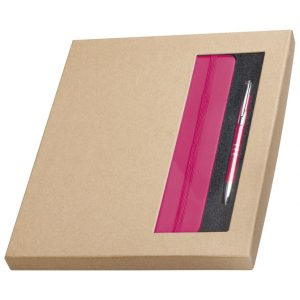 Notes 13x21cm+olovka kemijska u eko pakiranju rozi