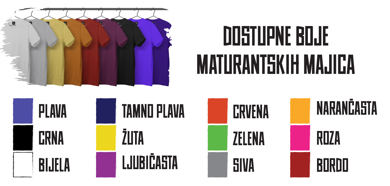 Dostupne boje za maturantske majice | Biroprint